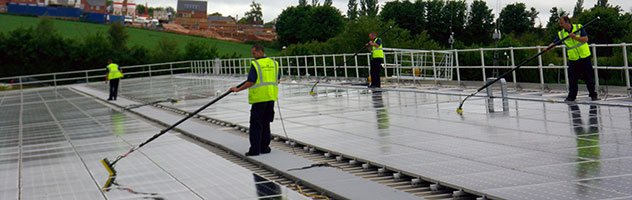 The Met Office solar panel cleaning